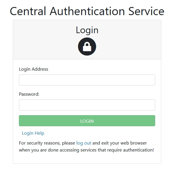 A picture of the Central Authentication Service Login screen.