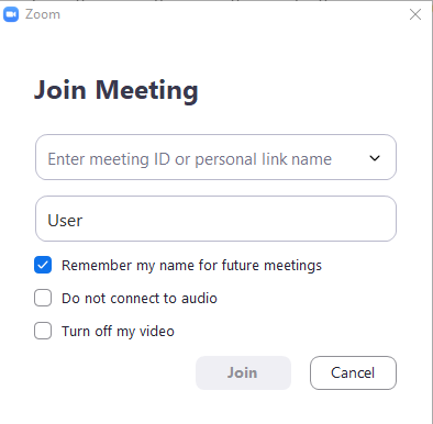 Zoom join meeting screen